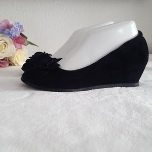 Restricted Velvet Dalilah Flower Wedge Shoe